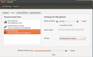 Ubuntu / Gnome sound settings: Microphone set to unampfilied.