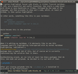 Editing this post with emacs, markdown-mode and mmm-mode