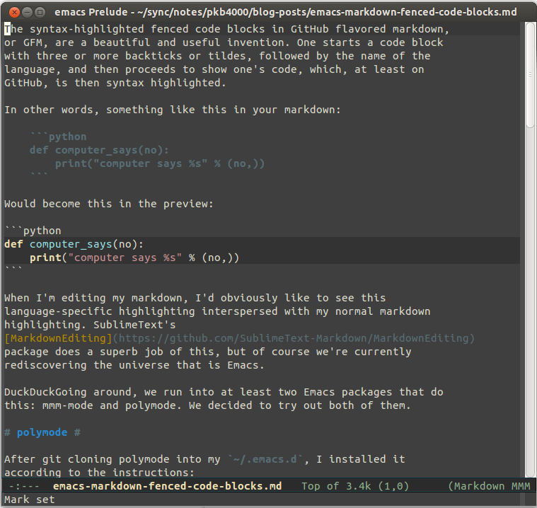 Syntax-highlighting markdown fenced code blocks in Emacs
