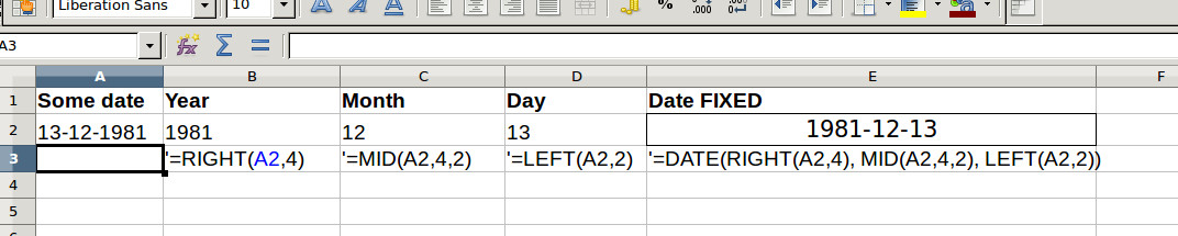 Convert dates to different formats in LibreOffice Calc - vxlabs