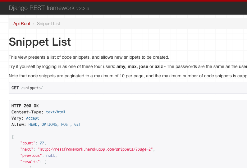 Django rest framework vxlabs for Rest api documentation template